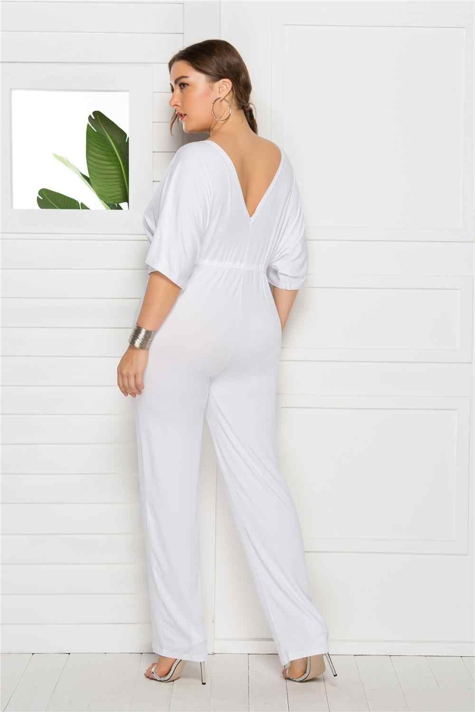 Echoine сексуальный глубокий v-образный вырез с коротким рукавом Повседневное офисные Широкие штаны комбинезон Черный Белый Для женщин летние элегантные комбинезоны большого размера L-3XL