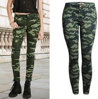 2017 Women S S XXXXXL Plus Size Chic Camo Army Green Skinny Jeans For Women Femme