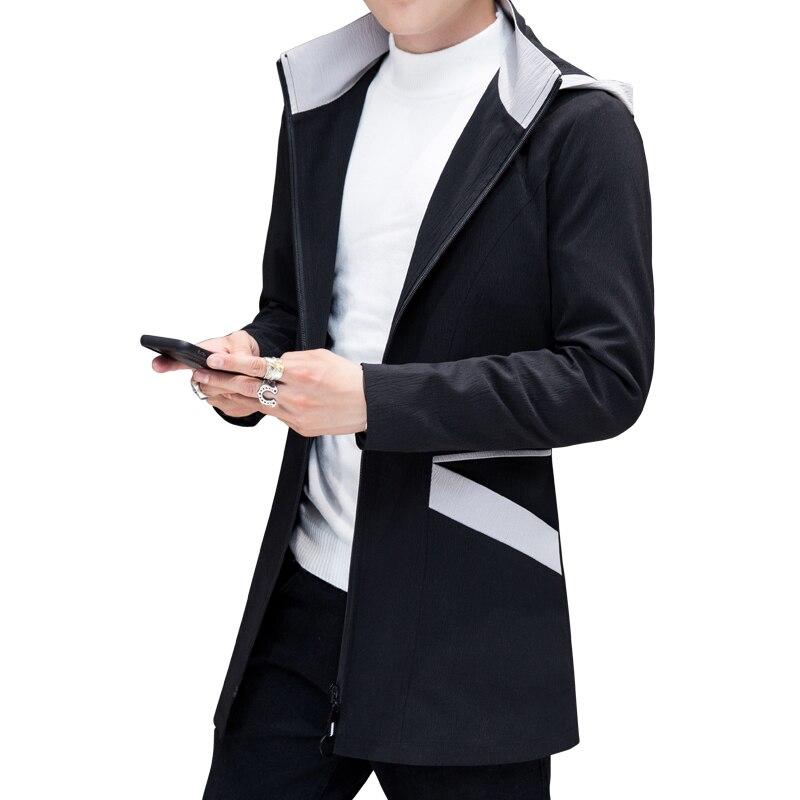 New Arrival Autumn Mens Trench Coat Long Sleeve Zipper Men Hooded Jacket Coat Splicing Pocket Design Windbreaker Plus Size 5XL