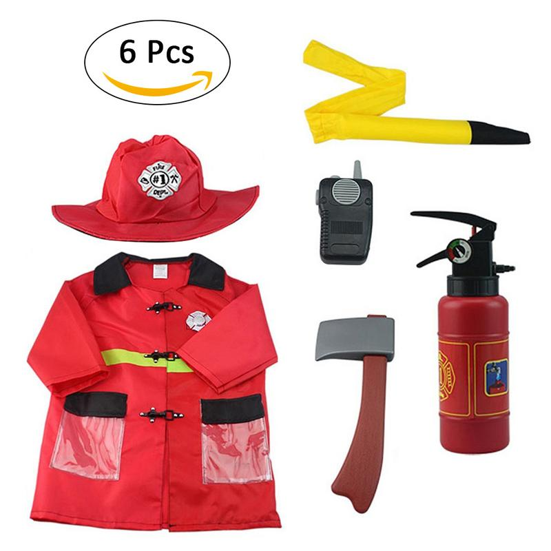 Boys Fireman Role Play House Playing Game Cosplay Fire Station Chief Costume Kids Children Gift Costume Dress-Up Set (6 PCS)