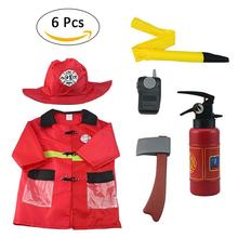 Boys Fireman Role Play House Playing Game Cosplay Fire Station Chief Costume Kids Children Gift Costume Dress-Up Set (6 PCS)(China)