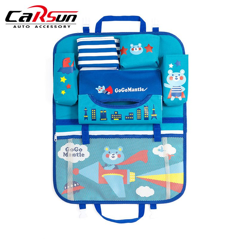Cartoon Car Seat Back Organizer Storage Hang Bag Stowing Tidying Baby Travel Automobiles Interior Accessories Protector Cover