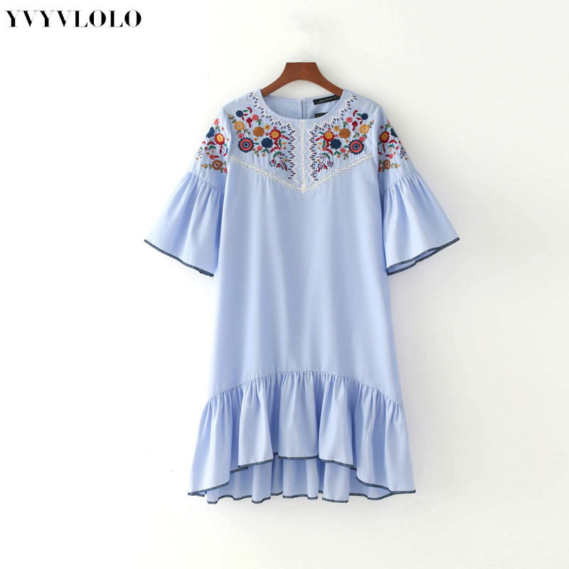 2017 flores bordado dress mujeres vestidos de verano marca de moda o cuello raya