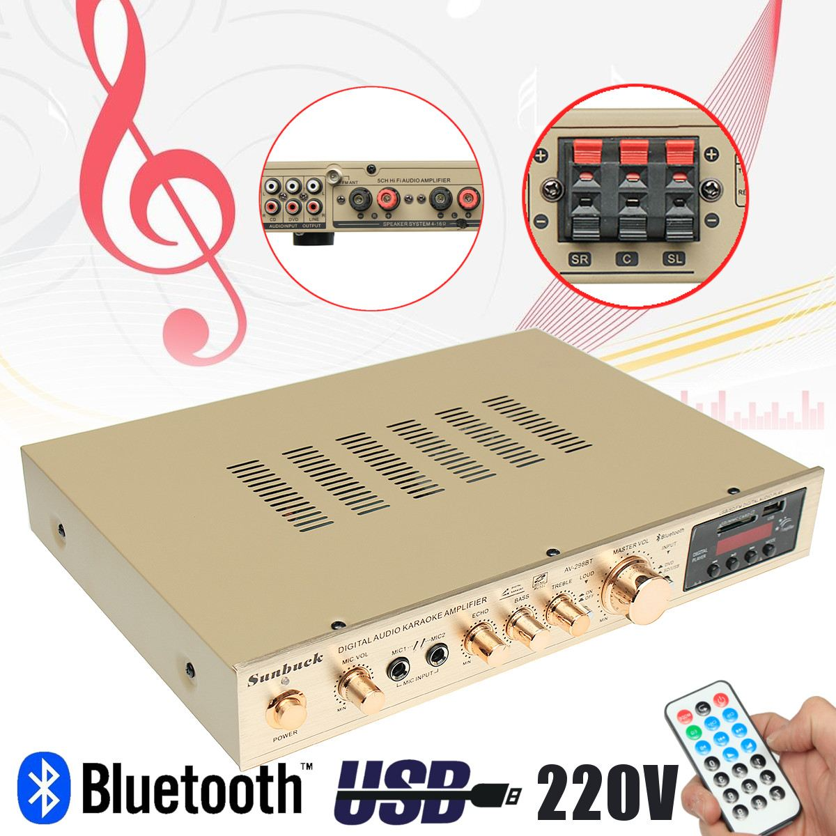 где купить 298BT 220V Stereo Audio Digital Power Amplifier USB Bluetooth Amplifier+Power Supply 5CH по лучшей цене
