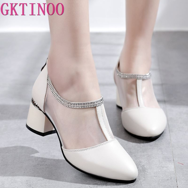 2019 Spring Summer Women Shoes Genuine Leather Fashion Mesh Pumps Woman Pointed Toe Cool Square High