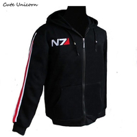 RPG Game Mass Effect 3 N7 Coat Men Clothing Thin Hoodie Cosplay Costume Black Jacket Sweatshirt
