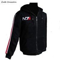 RPG Game Mass Effect 3 N7 Coat Men Clothing Thin Hoodie Cosplay Costume Black Jacket Sweatshirt
