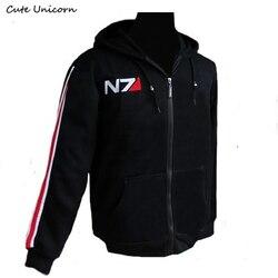 1b53afe6b05 Симпатичные Единорог RPG Игра Mass Effect 3 N7 Top Coat Черный Толстовки  мужские Костюмы косплей костюм