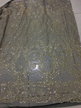Gold color african lace fabric SUSIA18308 glued glitter sequins French tulle lace fabric