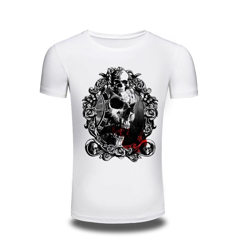 3361974714 2016 Summer marca Moda hombre cráneo impreso manga corta Camiseta hombres  casual o Masajeadores de cuello algodón Hip Hop camisa para hombre