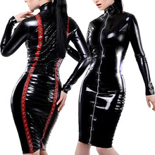 New Leather Pencil Dress Sexy Black PVC Leather Gothic Midi Dress Lace-Up Bondage Tight Catsuit Fetish Latex Clubwear Costume