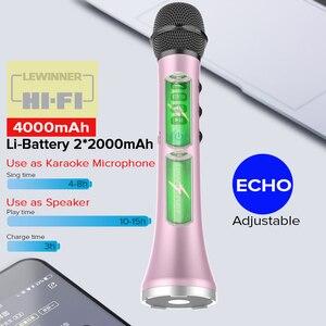 Image 2 - Lewinner L 698 professional 15W portable USB wireless Bluetooth karaoke microphone speaker with Dynamic microphone