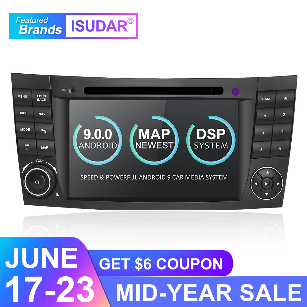 Isudar 2 Din Auto Radio Android 9 For Mercedes/Benz/E-Class/W211/E300/CLK/W209/CLS/W219 Car Multimedia Video DVD Player GPS DVR