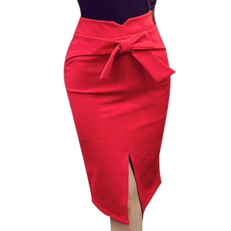 919a14880af S-5XL 2016 Summer New Casual Fashion Elegant Sexy Slim Bodycon Bow Split OL  Lady Women Knee Length Pencil Midi Skirt Plus Size