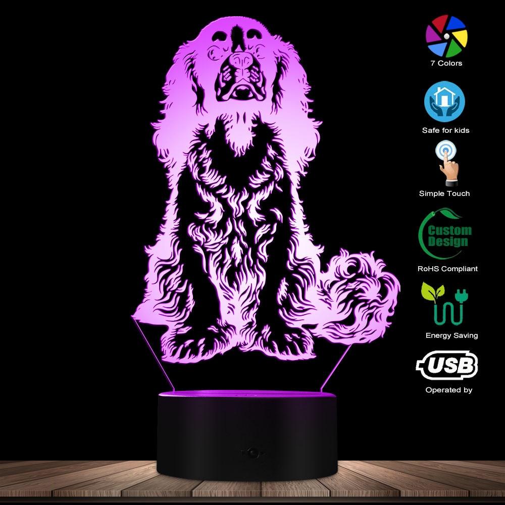 Cavalier King Charles Spaniel Dog Breed LED Night Light Table Lamp Adorable Dog Pet Puppy 3D Optical Illusion Light Visual Lamp