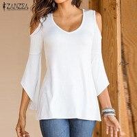 ZANZEA Women Sexy Blouse Shirts 2016 Autumn Off Shoulder V Neck Flare Long Sleeve Blusas Asymmetrical