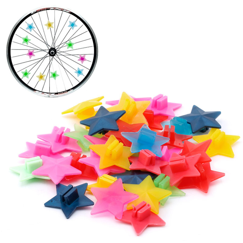 36Pcs/Bag Cycling Plastic Wheel Spoke Colorful Star Decoration MTB Bicycle Bike