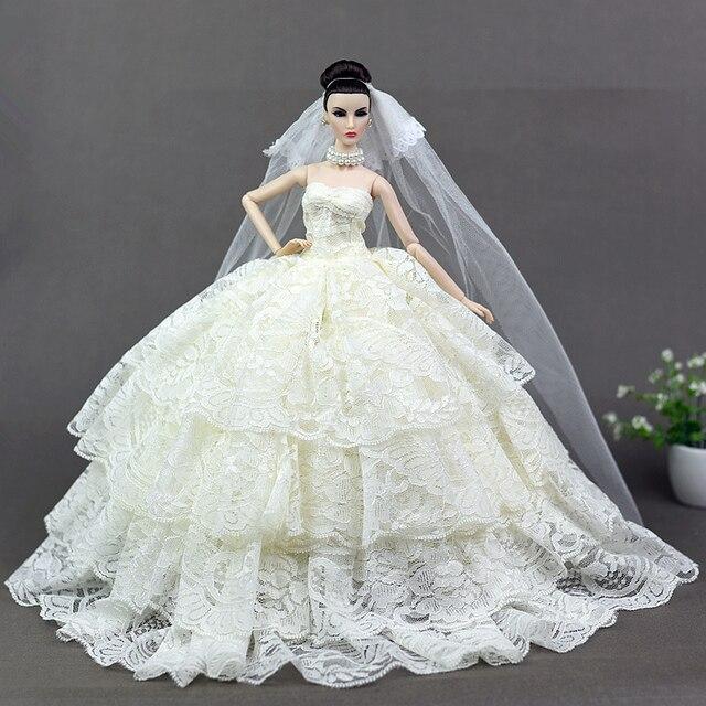 Wunderschöne Creme Kleid + Schleier/4 Schichten Hochzeit kleid ...