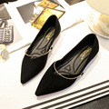 2017 Spring Woman Flats Pointed Toe Slip on Shoes Metal Decoration Women Shoes Ladies Ballerina Flats Female Boat Shoes 32e59
