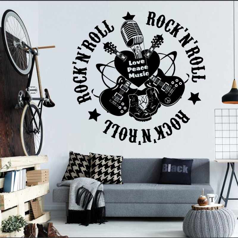 Free Shipping Music Guitar Rock Art Murals Living Room Wall Stickers Vinyl Wall Decals Decorative Fashion Music Y 1