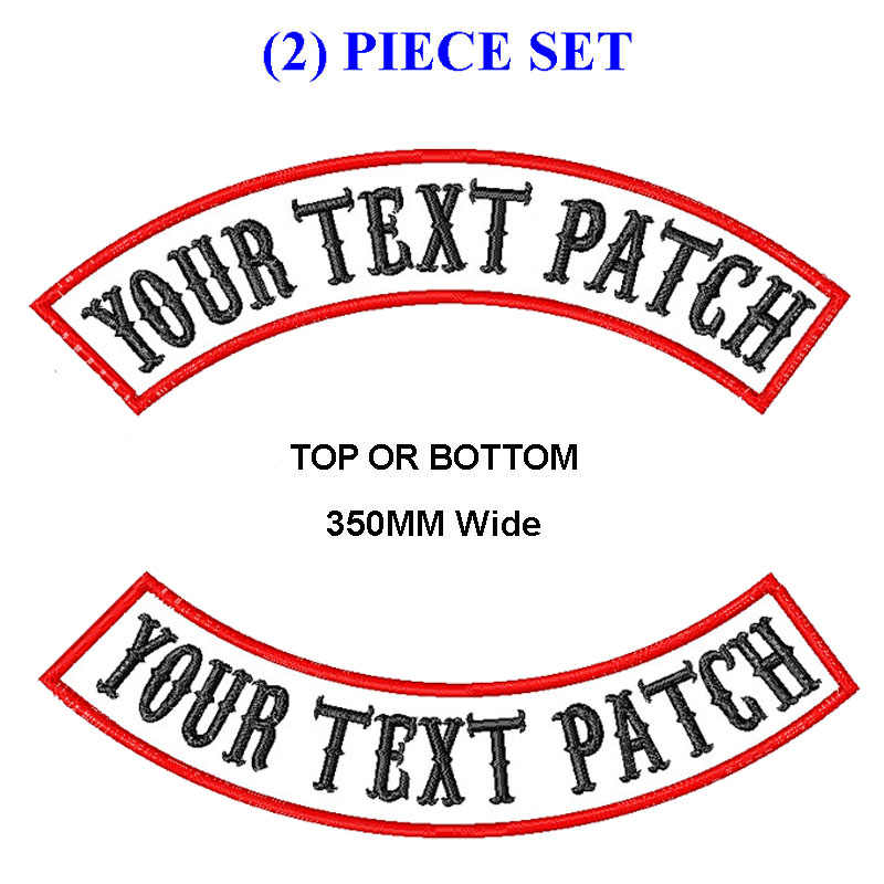 PERSONALIZZATO RICAMATO MC ROCKER PATCH di 350 MILLIMETRI di LARGHEZZA SUPERIORE O INFERIORE 2 PCS MOTO BIKER VEST CUT