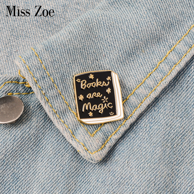 Cartoon Books Enamel Pin Magic Book Badge Brooch Clothes Lapel Pin Badge