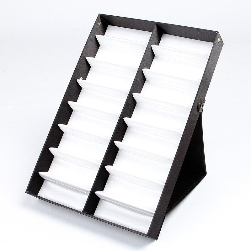 16 Girds pliant lunettes debout lunettes de soleil présentoir Stand lunettes titulaire couvercle transparent plateau boîte compartiments