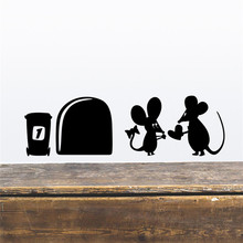 Funny Love Mouse Hole Wall Stickers For Kids Rooms decals vinyl Mural Art Home decoration Vintage Poster