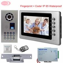 "Home Video Door Phone IP65 Waterproof Fingerprint Code 7"" Color Video Intercom For The Apartment System Unit + Electronic lock"