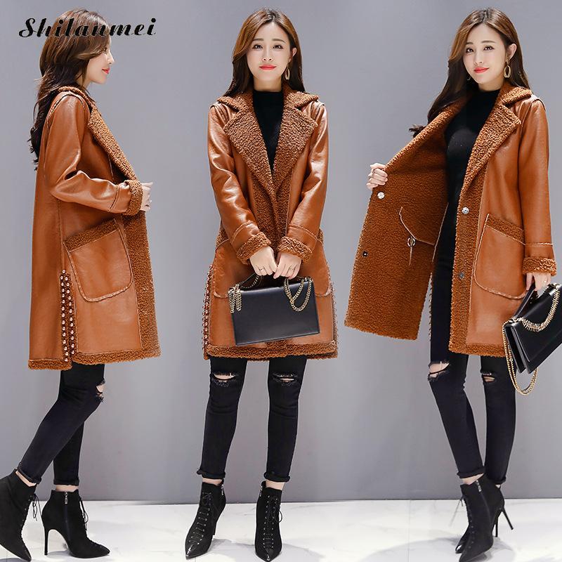 2018 Winter Women   Suede     Leather   Jacket Female Long Lamb Wool Motorcycle Coat Reversible Thick Lambs Wool Warm Zip Coat Outerwear