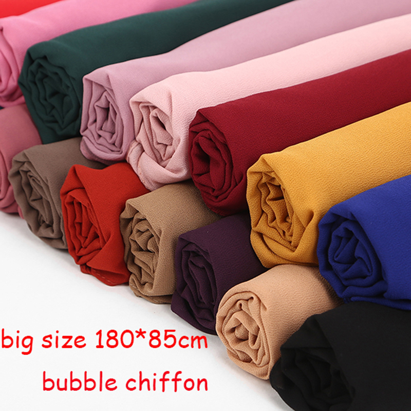 1 pc Hot Sale Bubble Chiffon Scarf Shawls Big Size 180*85cm Two Face Plain Solider Colors Hijab muslim scarves/scarf 22 colors title=
