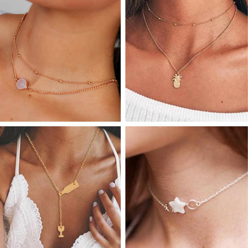 Seblasy Simple Style Multi-Layer Feather Star Moon Hamsa Hand Cross Crystal Chain Pendants Necklaces for Women Gifts Accessories