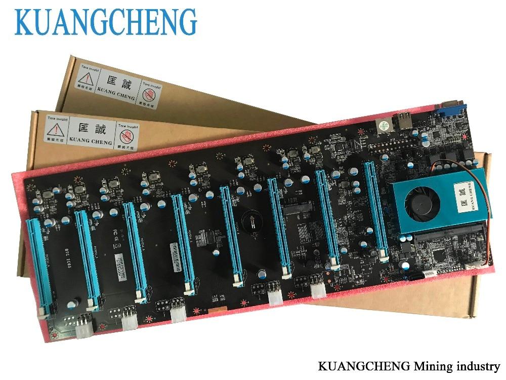 KUANGCHENG minería placa base 8 gráficos ETH mineros (con cpu) BTC más BTC, ETH grande 8 GPU Antminer minería placa base