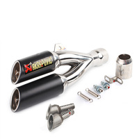 Fast Shipping Motorcycle Exhaust Pipe Motos Modified Stainless Steel Exhaust Double Hole Kawasaki CB400 R6 Z800 CBR650