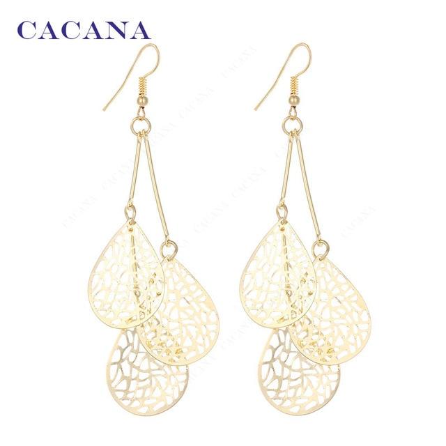 CACANA Dangle Long Earrings For Women Three Big Water Drop Shape Leaves Bijouter