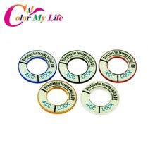 Color My Life Aluminium Alloy Car Ignition Key Ring Trim Stickers Case for Citroen C-Quatre C2 C4 C4L C5 Elysee Accessories