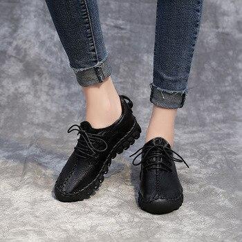 2018 الصيف لينة أسفل السيدات عارضة أحذية حجم كبير جلد طبيعي أبيض أحمر النساء الأحذية مع الأحذية المسطحة اليدوية المشي 1