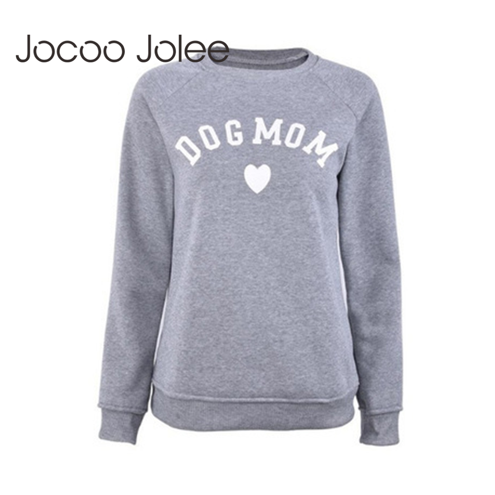 Jocoo Jolee Women Fashion Dog Mom Print Hoodies Casual Long Sleeve Sweatshirt Autumn Korean Harajuku Pullover Female Tops