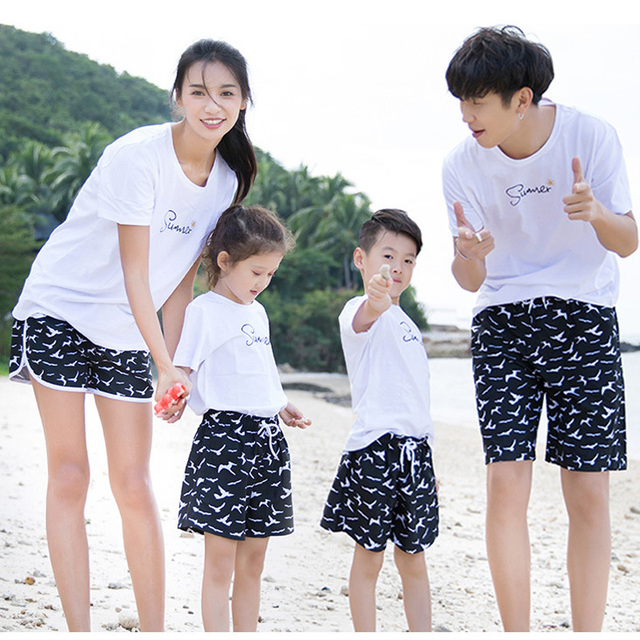 7c7deee1266c8 2019 Summer Family Matching Outfits Casual Seagull Print Beach Shorts  Family Parent-child Bathing Suits Quick Dry Swimwear