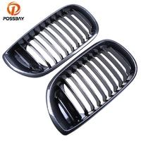 POSSBAY Imitation Carbon Fiber Front Center Wide Kidney Grille for BMW 3 Series E46 320d/320i/325i Sedan 2001 2005 Facelift