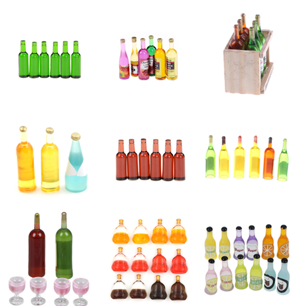 1/12 Dollhouse Miniature Wine Juice Bottles Decoration For Dolls House Life Scene Decoration Furniture Toys 1/2/3/4/5/6/15 Pcs
