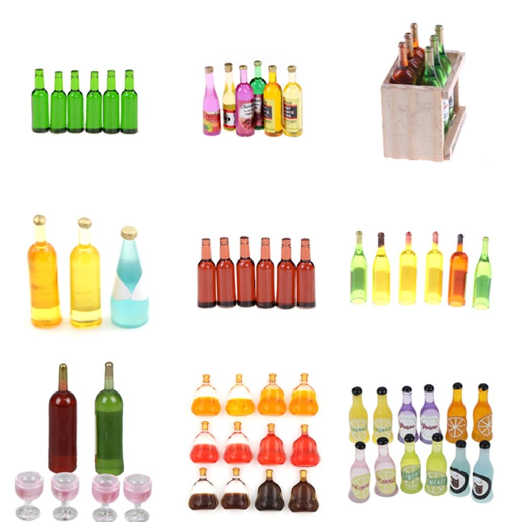 1/12 Dollhouse Miniature Wine Juice Bottles Decoration For Dolls House Life Scene Decoration Furniture Toys 1/2/3/4/5/6/15 Pcs