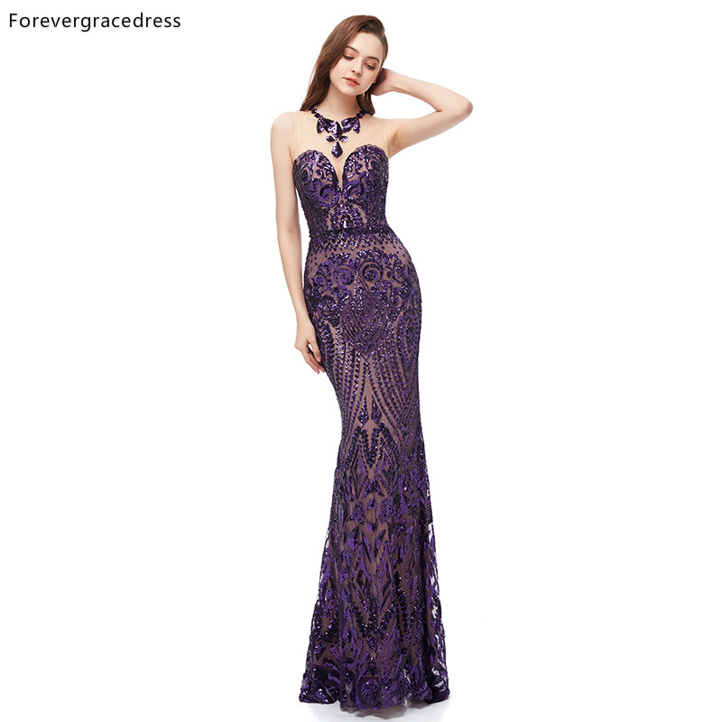 Forevergracedress Purple Sequined Evening Dresses 2019 Formal Women Holiday Wear Celebrity Party Gowns Plus Size Custom Made