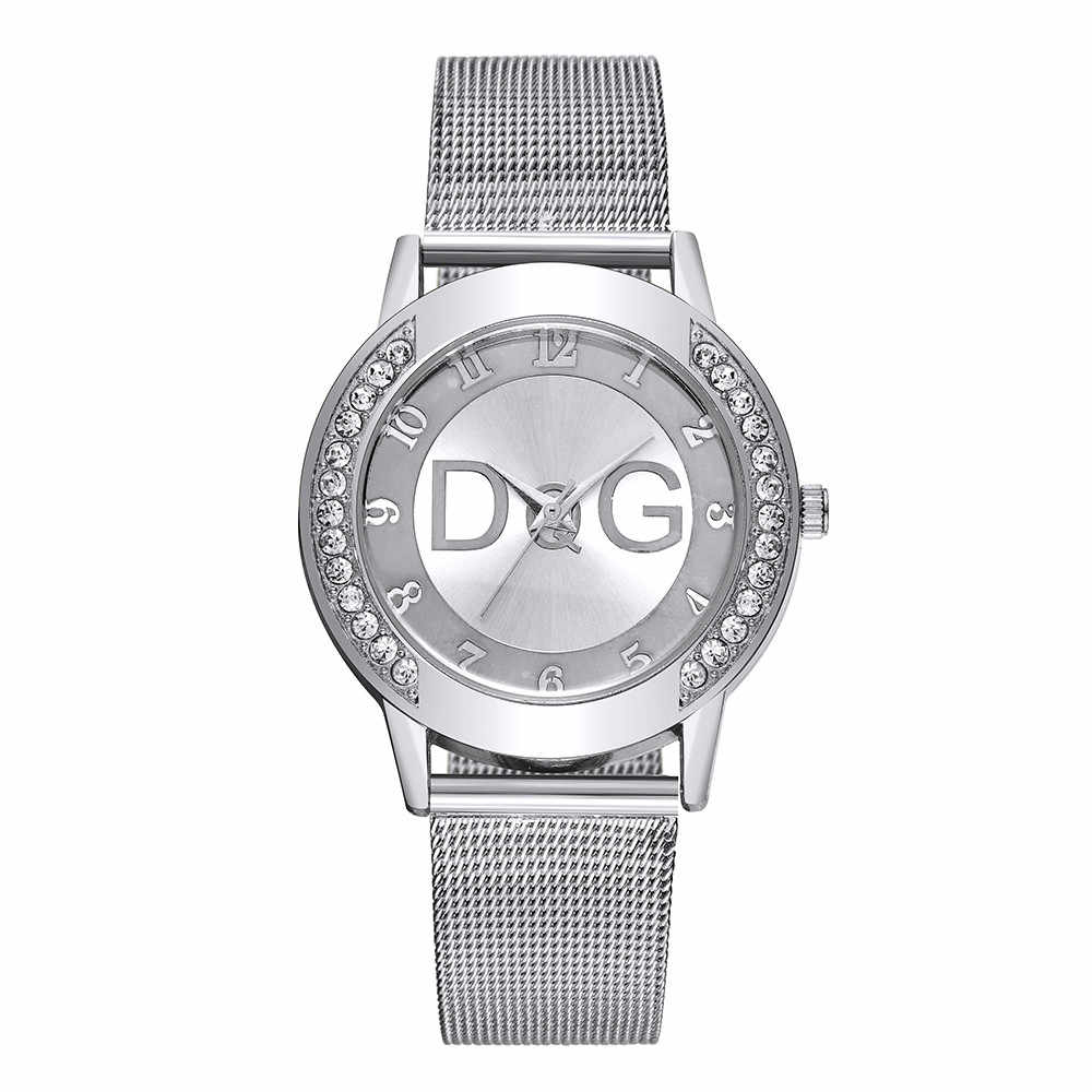 Relogio Feminino Luxo 2019 Ladies Watch With Crystal Simple Fashion Lady Mesh Strap Watch Rhinestone Case Watch Pure Color Strap
