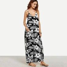 Summer fashion print hanging bandwidth loose waist skirt dress womens free shipping