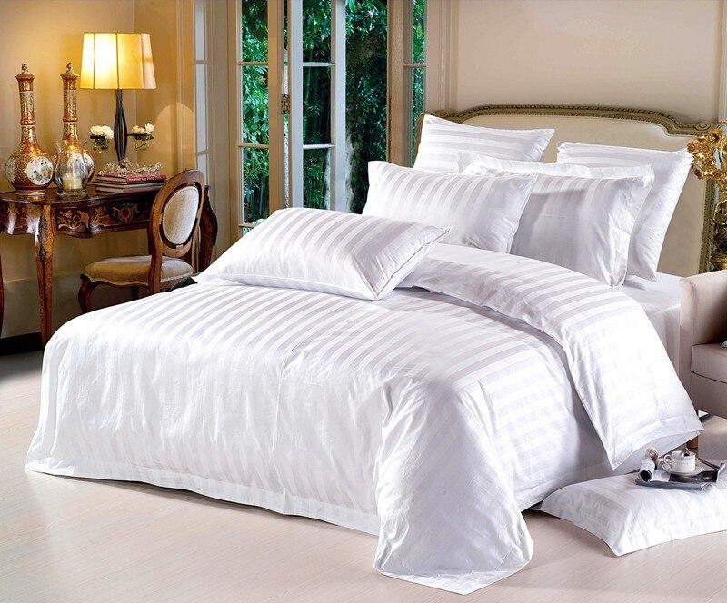 Livraison gratuite housse de couette blanche hôtel lit ensemble haute qualité 100% coton couleur Pure 4PC literie moderne en sac rayure