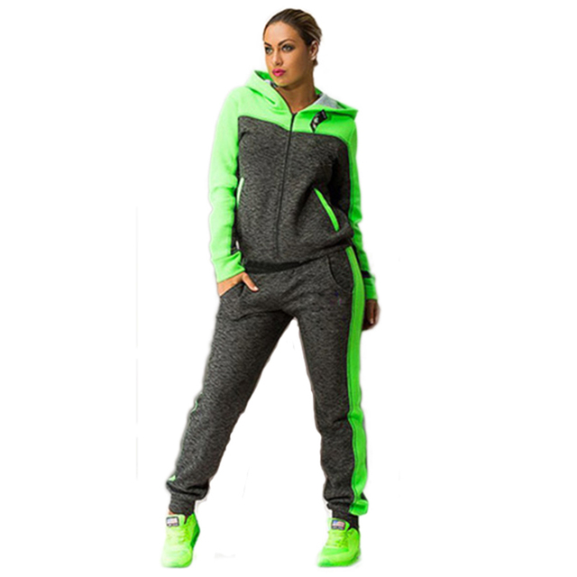Women Two Piece Set Tracksuits Top and Pants Color Patchwork Hoodies Sweatshirts Coat Sportwear Long Sleeve Sporting Suit Female