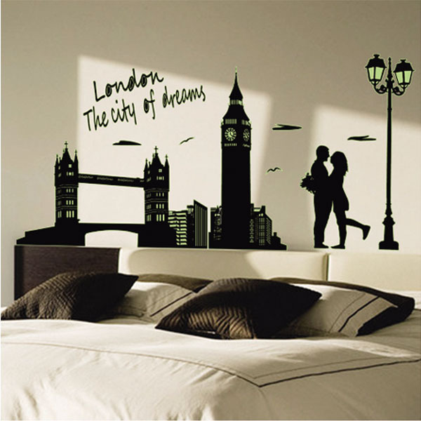 Large Wall Stickers Landscape London Night Removable Wall Sticker ...