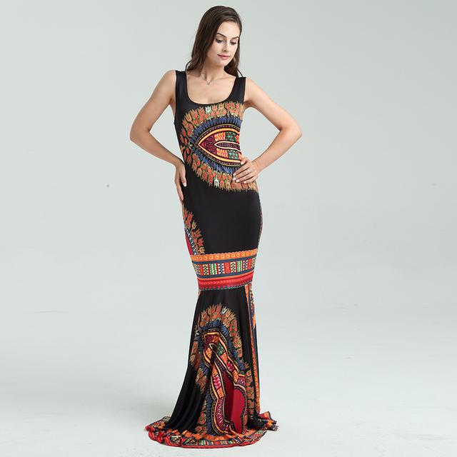 New Boho Women Dashiki African Print Summer Dress Bodycon Elegant Club Sexy