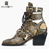 Prova Perfetto Brand Design Snake Skin Genuine Leather Boots Woman Pointed Toe High Heels Ankle Boots Buckle Lace Up Women Boots